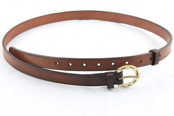 Cintura con fibbia a ferro di cavallo in ottone da 25 mm adatta a pantaloni da equitazione.