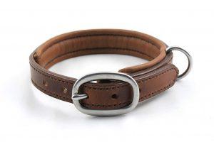 Collare in cuoio con imbottitura taglia S con fibbia ovale in acciaio inox adatto a cani di piccola taglia.
