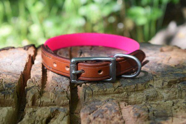 Collare in Biothane e cuoio taglia S in rosa adatto a cani di taglia small.