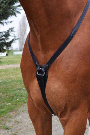 Pettorale da caccia con inserti elastici in cuoio nero taglia Full